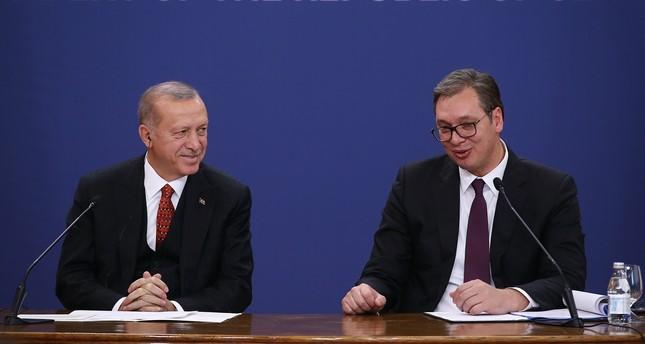 President Recep Tayyip Erdoğan, left, and Serbian President Aleksandar Vucic speak at a joint press conference, Oct. 7, 2019.