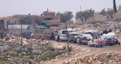 Syrian refugees escaping regime attacks continuously migrate in hope of refuge