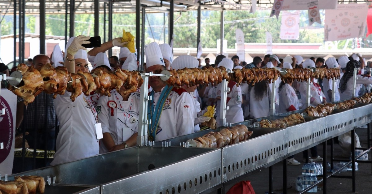 The chefs in northwestern Bolu province collaborated on a 111-meter (364 feet) series of rotisserie chickens.