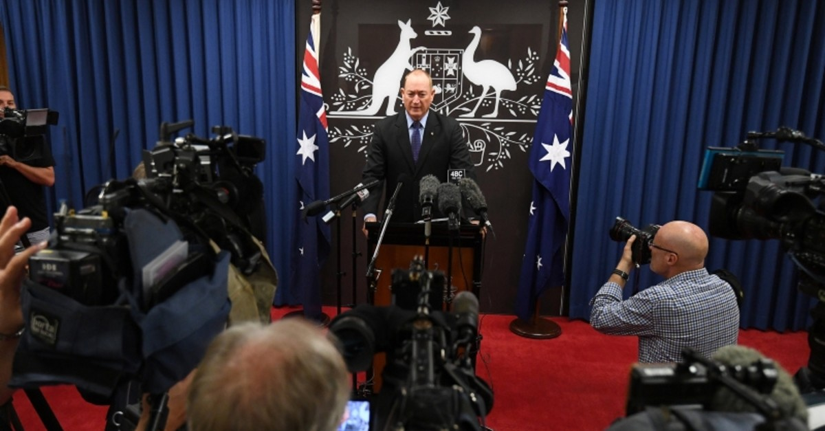 Senator Fraser Anning speaks during a news conference in Brisbane, Australia, March 18, 2019. (Reuters Photo)