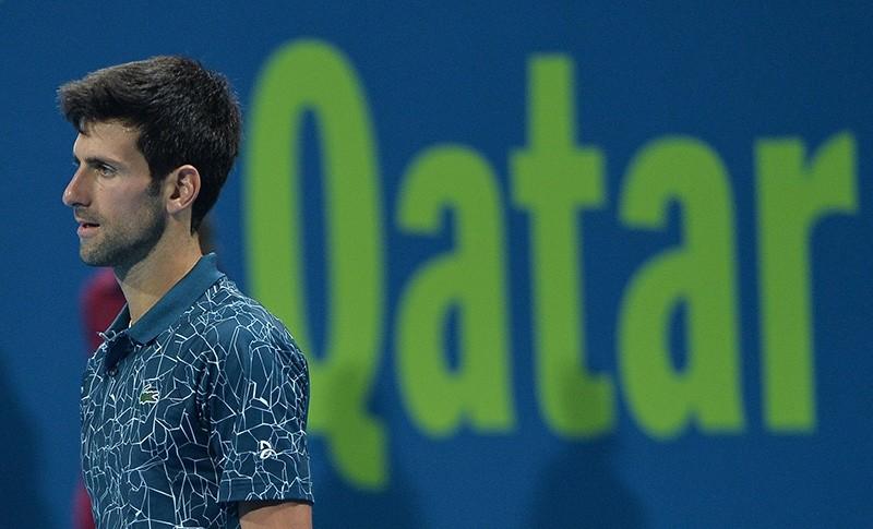 Novak Djokovic of Serbia in action against Roberto Bautista Agut of Spain during their semi final match of the ATP Qatar Open Tennis tournament at the Khalifa International Tennis Complex in Doha, Qatar, Jan. 4, 2019. (EPA Photo)