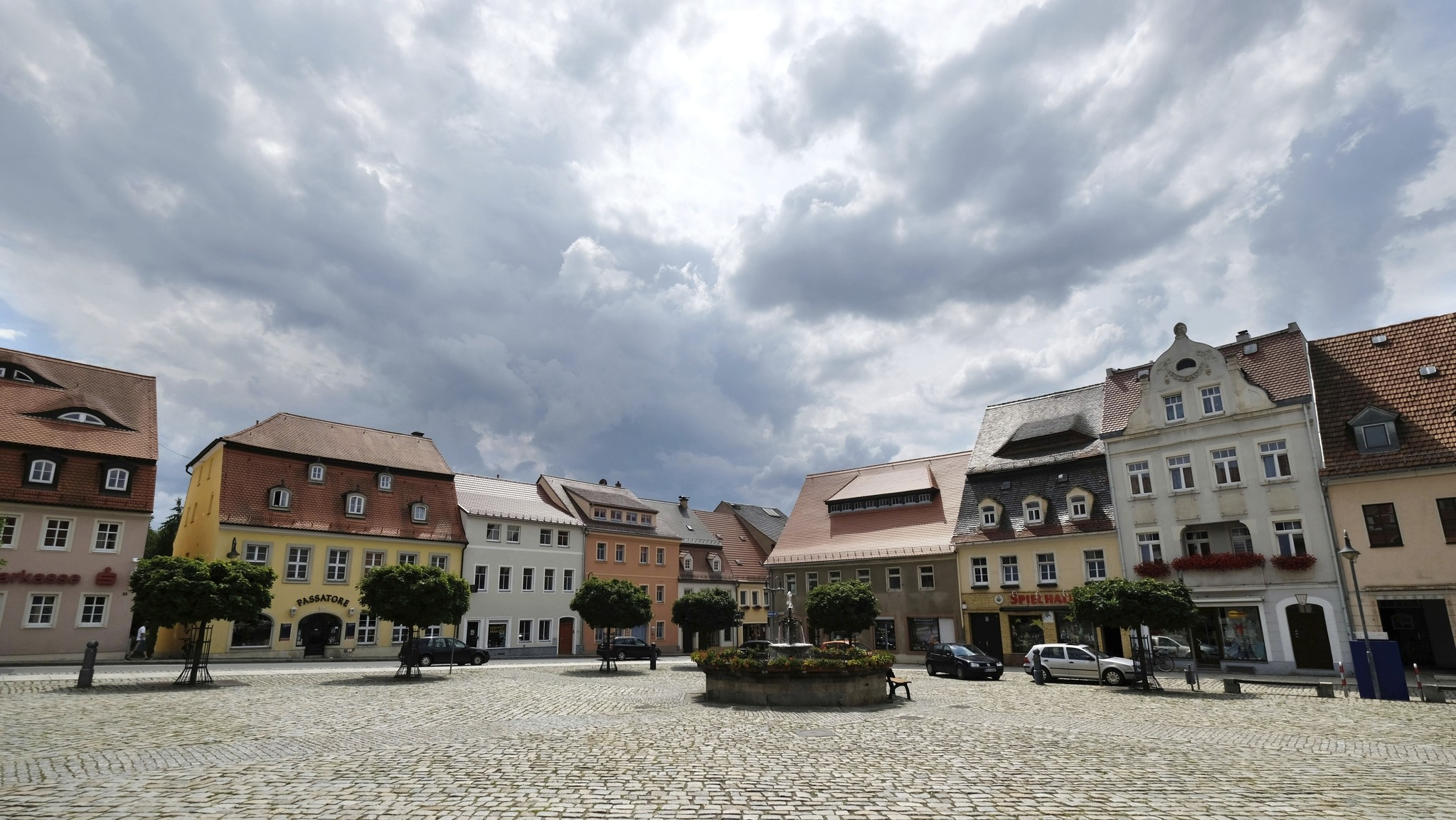 The market place in Pulsnitz, the town where the German runaway girl is from, near Dresden photographed on Saturday, July 22, 2017. (DPA via AP)