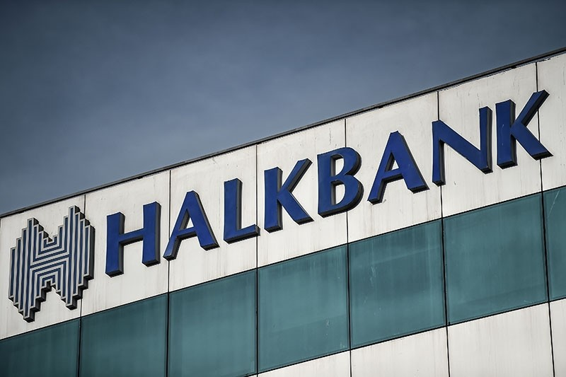 This file photo taken on December 2, 2017 shows the logo of the Turkish Halkbank in Istanbul. (AFP Photo)