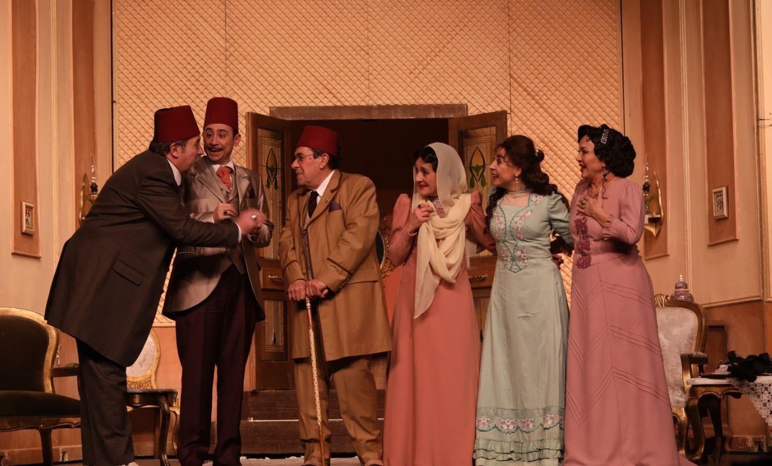 A scene from the play u201cHisse-i u015eayiau201d (u201cBir Evlilik  Komedisiu201d) (u201cExclusive Share / A Marriage Comedyu201d).