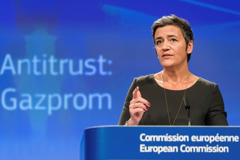 European Commissioner for Competition Margrethe Vestager speaks during a media conference on Gazprom at EU headquarters in Brussels on Thursday, May 24, 2018. (AP Photo)