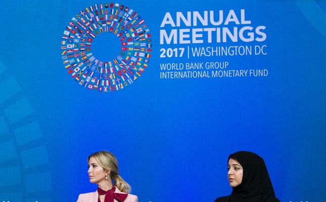 White House senior adviser Ivanka Trump accompanied by UAE Minister of State for International Cooperation Reem Bint Ebrahim Al Hashimy, attend the forum Taking Women-Owned Business to the Next Level