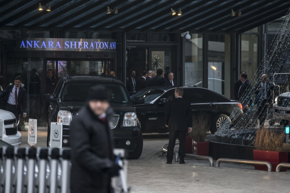CIA Director Mike Pompeo is leaving the hotel where he stayed during his visit to Turkish capital Ankara to consult with Turkish officials about the joint cooperation between Turkey and the U.S. on the war against terror.