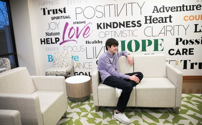 Danny Reagan, a former patient of the Lindner Center of Hope's Reboot program, first of its kind to admit only children who suffer from compulsion or obsession with their use of technology, sits in a common room at the center in Mason,Ohio, Jan.23.
