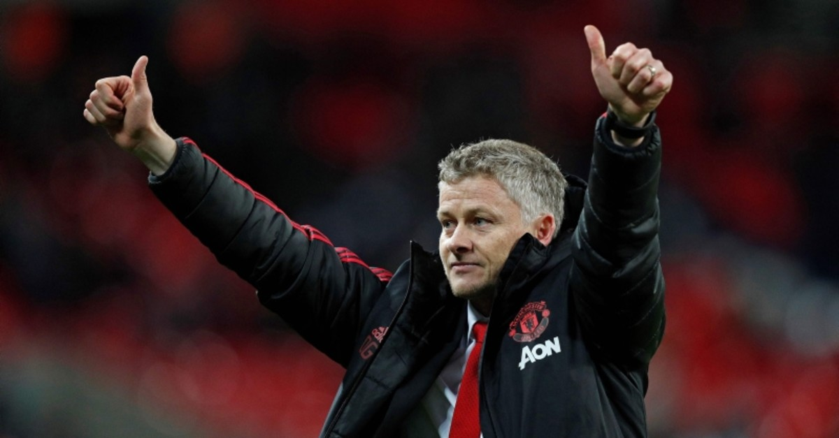 In this file photo taken on January 13, 2019, Ole Gunnar Solskjaer applauds the fans following the English Premier League football match between Tottenham Hotspur and Manchester United. (AFP Photo)