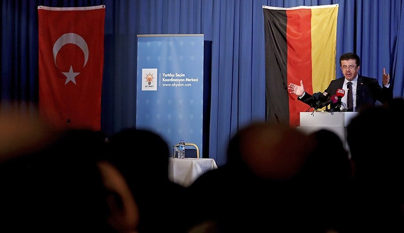 Turkish Economy Minister Nihat Zeybekci delivers a speech at the Senats hotel in Cologne, Germany, March 05, 2017. (AFP Photo)