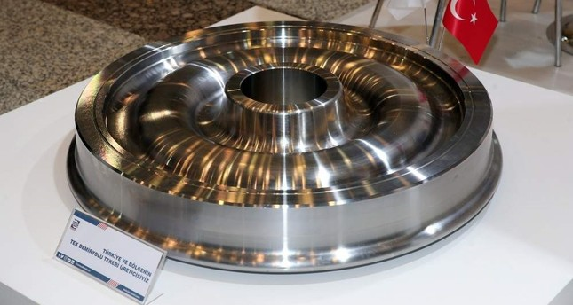 The indigenous train wheel produced by Kardemir. (AA Photo)