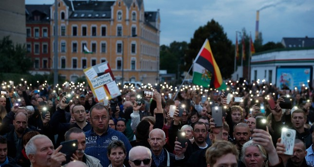 The far-right group Pro-Chemnitz stages a protest, Chemnitz, Aug. 30, 2018.