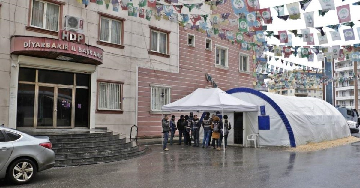 This file shows entrance of HDP's Diyarbaku0131r headquarters, where some 50 Kurdish mothers are staging a sit-in protest against PKK terrorist group for abduction of their sons. (DHA File Photo)