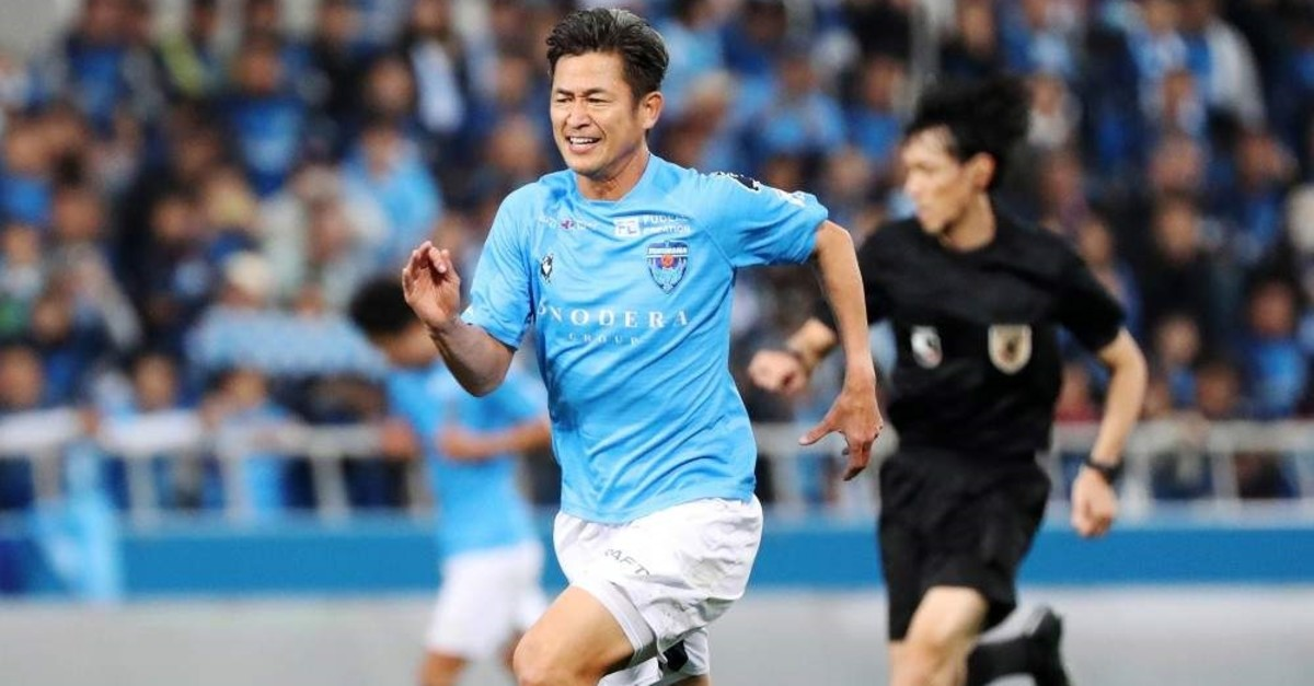 Miura in action during a football match in Yokohama, Japan, Nov. 24, 2019 (EPA Photo)