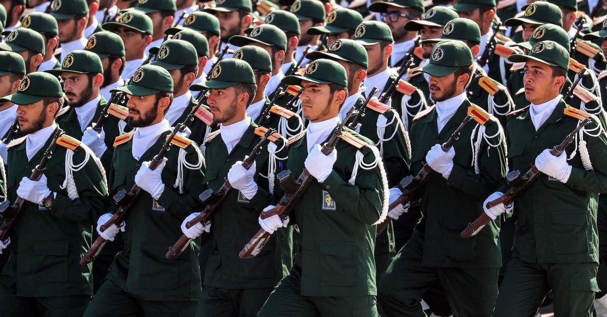 Members of Iranu2019s Revolutionary Guards Corps (IRGC) march during the annual military parade, Tehran, Sept. 22, 2018.
