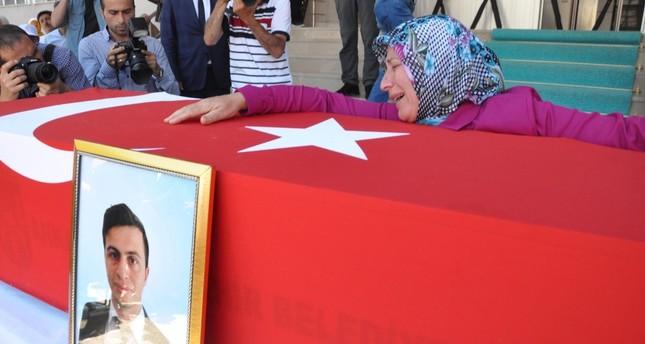 The funeral of Necmettin Yılmaz, 23, was a teacher in Şanlıurfa before he was kidnapped and killed by the PKK.