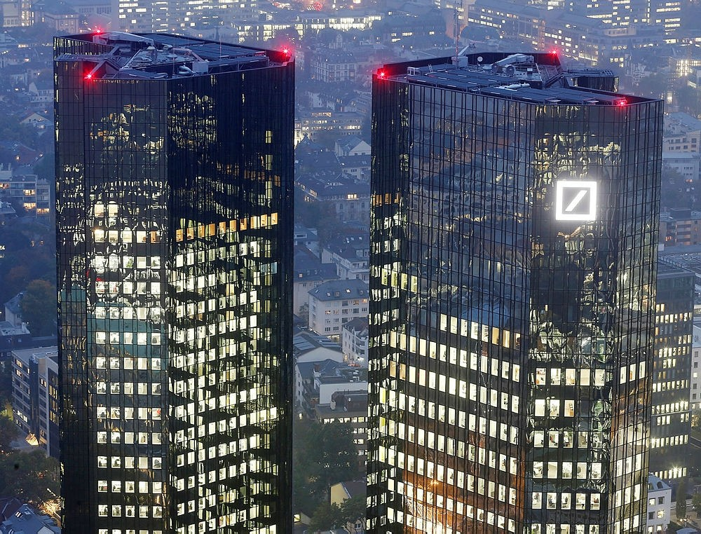 Deutsche Bank headquarters are photographed in Frankfurt, Germany.   (AP Photo)