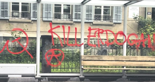 Graffiti reading Kill Erdoğan on a bus stop near the Turkish Consulate General in Zurich, Switzerland, May 1. On the same day, the consulate was also vandalized with paint.