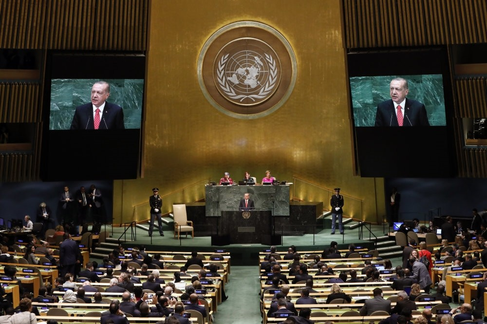 Erdou011fan addresses the 73rd Session of the UNGA, New York, Sept. 25. Erdou011fan re-emphasized his famous motto against the U.N. system, ,the world is bigger than five,, criticizing the hegemony of the five permanent UNSC members over the organization.