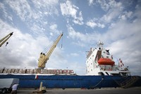 Aqua Stella, a Turkish aid ship carrying 10,000 tons of supplies to the blockaded Gaza Strip, arrived at Israel's Ashdod port Wednesday amid Turkey's efforts to maintain a lifeline to Palestinians...