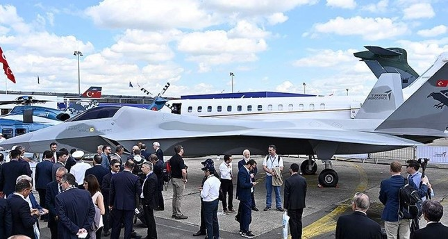 A mock-up of Turkey's first domestically built national combat aircraft was unveiled at the Paris Air Show in June 2019. AA Photo