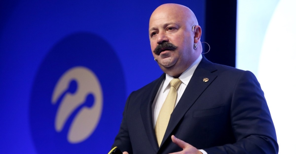 Former Turkcell CEO Kaan Terziou011flu speaks at a press conference to evaluate the 2018 financial and operational results for the cellphone operator, in Istanbul, Feb. 25, 2019. (AA Photo)