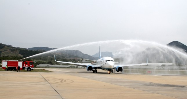 A water salute welcomed the first direct flight from Moscow to Alanya.