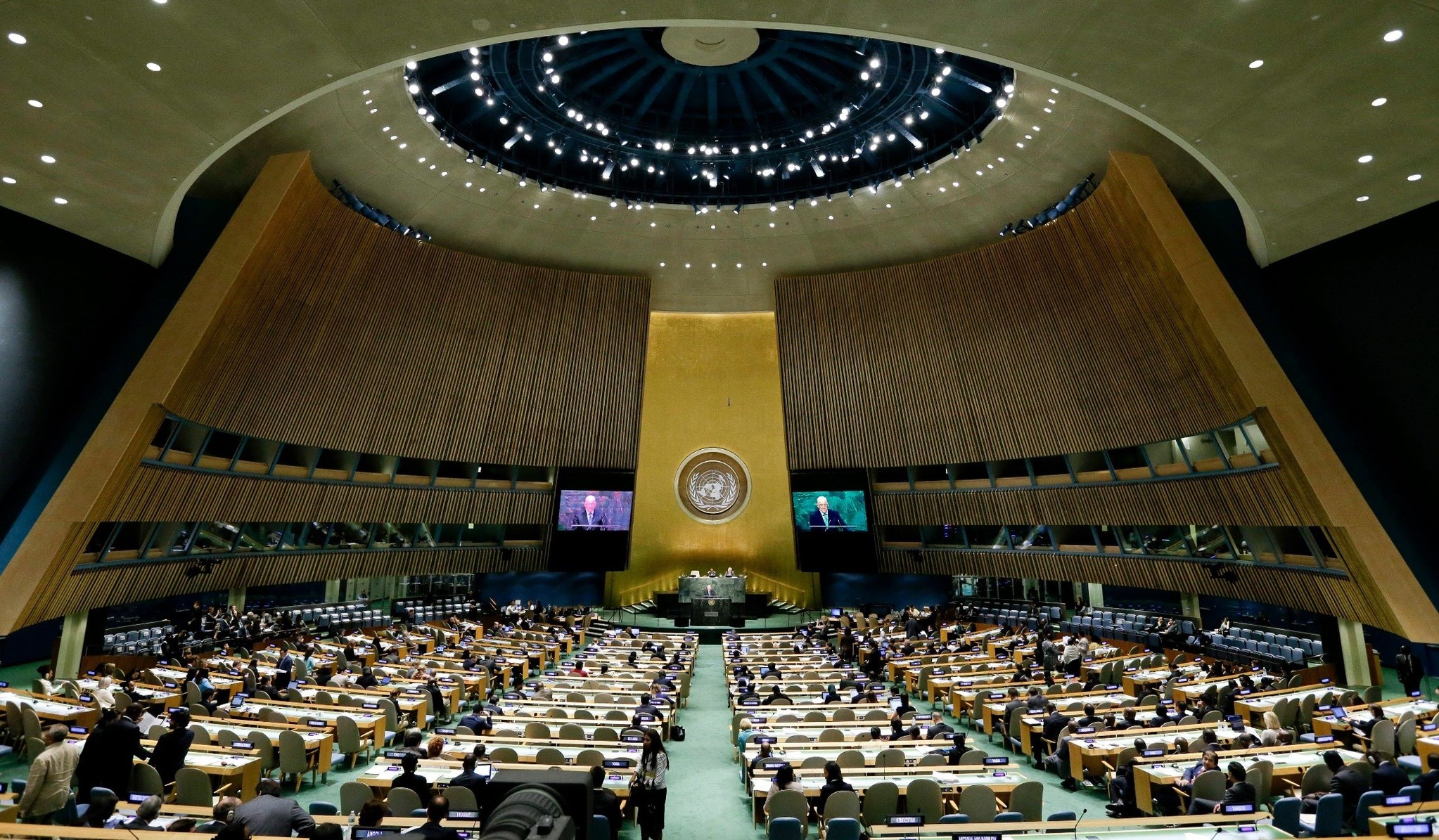 The 69th session of the United Nations General Assembly takes place at U.N. headquarters, Sept. 24, 2014.