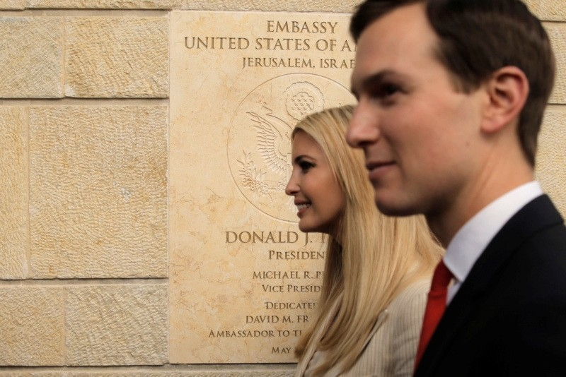 U.S. President Donald Trumpu2019s daughter Ivanka Trump, left, and his son-in-law, White House senior adviser Jared Kushner attends the opening ceremony of the new U.S. Embassy in Jerusalem, May 14.