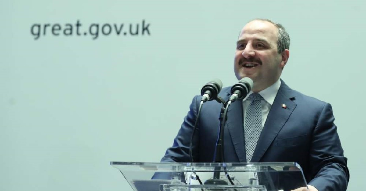 Industry and Technology Minister Mustafa Varank delivers a speech at the U.K. Technology Conference, Istanbul, Feb. 17, 2020. (AA Photo)