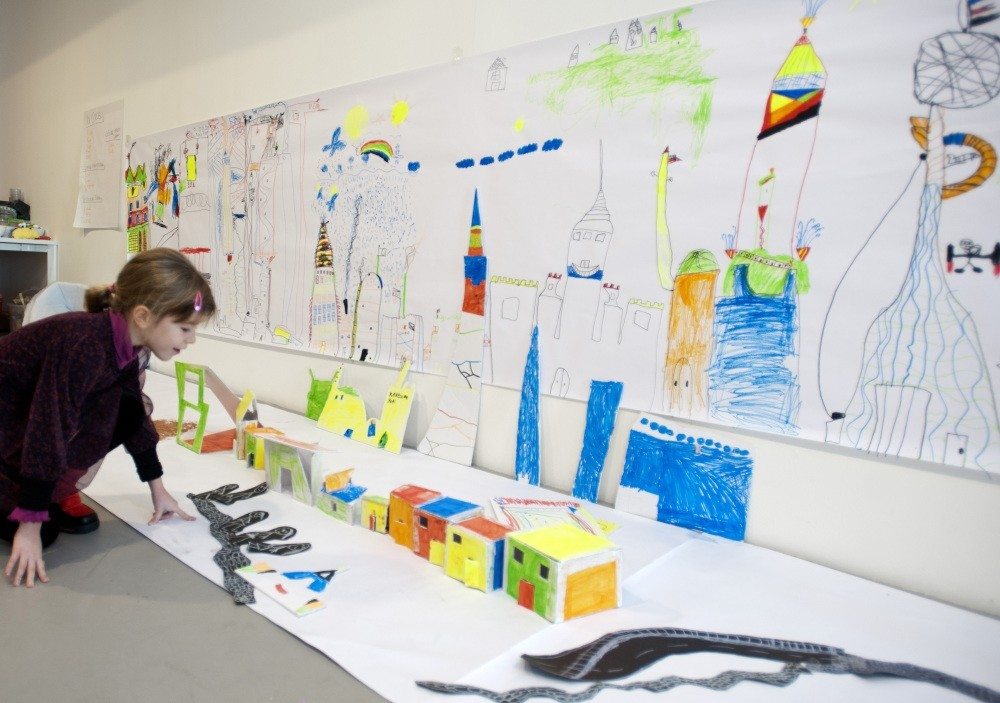 In the Architects of Future workshop, children create a city, bringing geometrical shapes together.