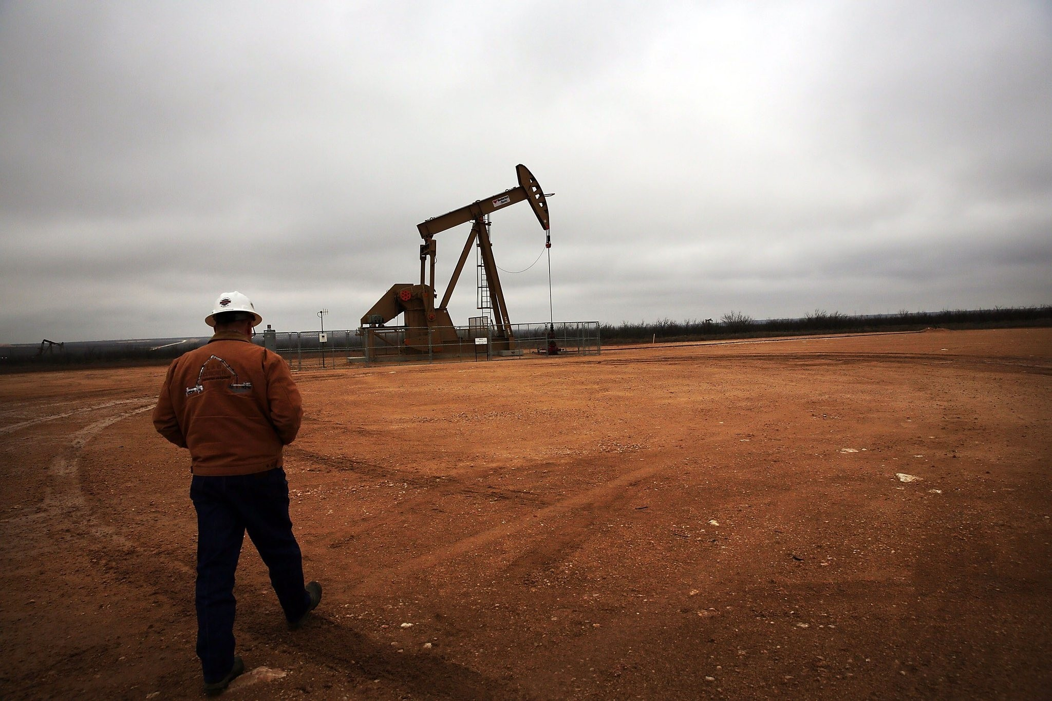 An oil well owned and operated by Apache Corporation in the Permian Basin.