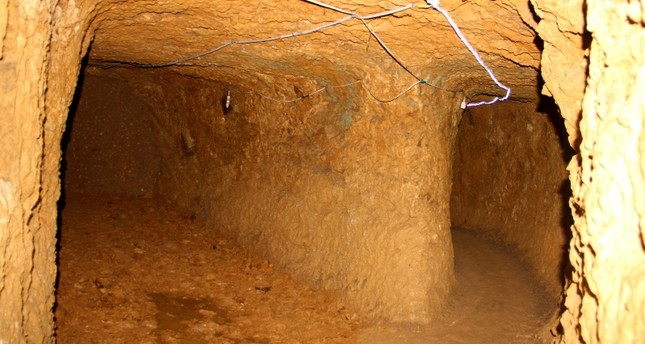 Photo shows underground tunnels and a room discovered in the ancient underground city in Bayburt. DHA Photo