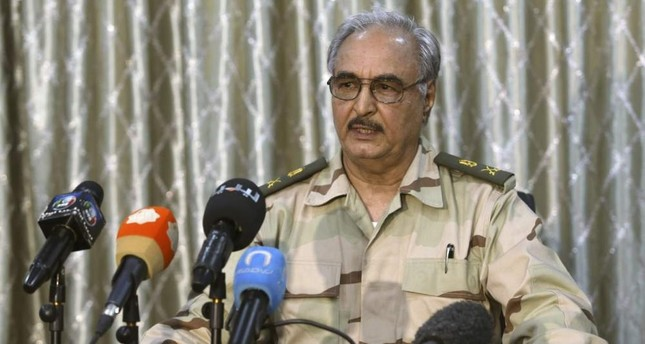 Putschist Gen. Khalifa Haftar speaks during a news conference at a sports club in Abyar, a small town to the east of Benghazi. May 17, 2014. Reuters File Photo