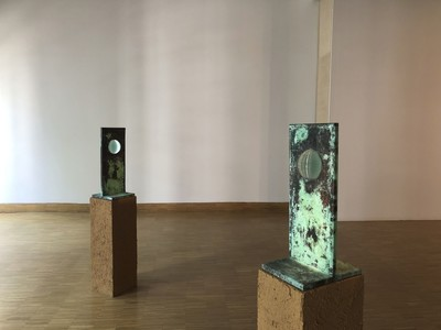 """Handan Börüteçene, """"For Every Sea"""" (1989), five sculptures, mixed media, from the Ayşe Umur Collection."""