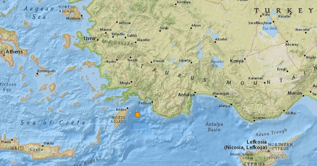 Screengrab from USGS shows the location of the earthquake in the Mediterranean Sea.