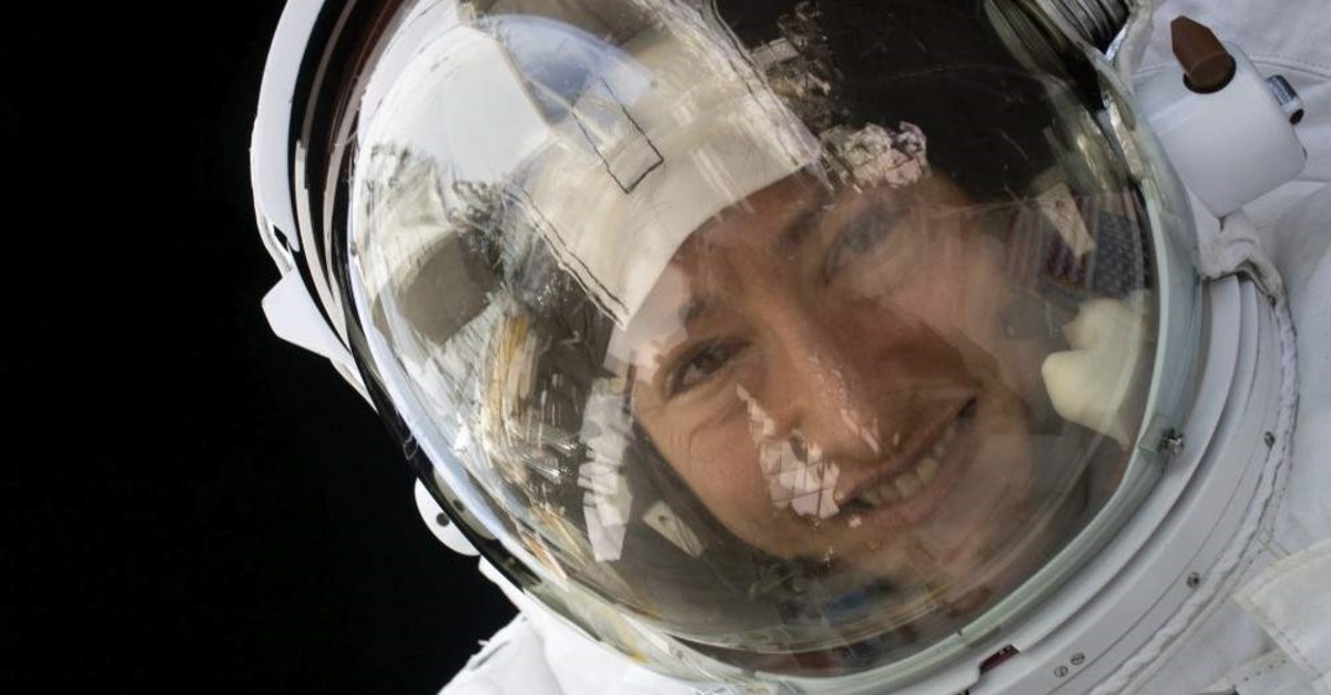 This handout photo released by NASA on Feb. 4, 2020, shows NASA astronaut Christina Koch during a spacewalk on Jan. 15, 2020. (NASA handout photo via AFP)