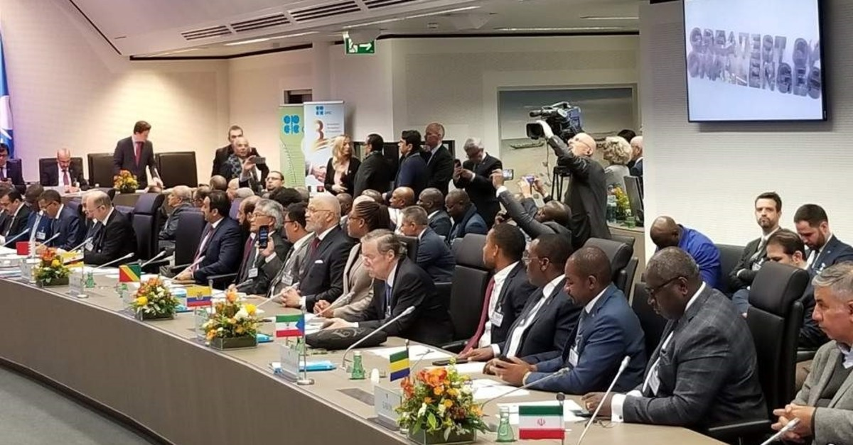 The meeting of OPEC countries and allies in the Austrian capital Vienna on Dec. 6, 2019. (AA Photo)