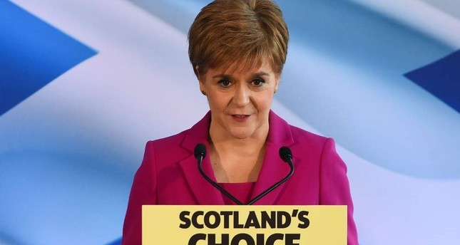 Scottish National Party SNP leader and Scotland's First Minister Nicola Sturgeon speaks, Edinburgh, Dec. 13, 2019. AFP Photo