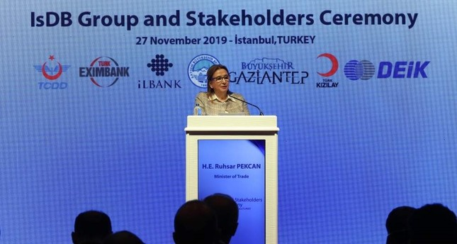 Trade Minister Ruhsar Pekcan speaks at the IsDB Group and Stakeholders Ceremony held on the sidelines of the 35th Ministerial Meeting of the Committee for Economic and Commercial Cooperation of the Organization of the Islamic Cooperation, Nov. 27, 2019. AA Photo