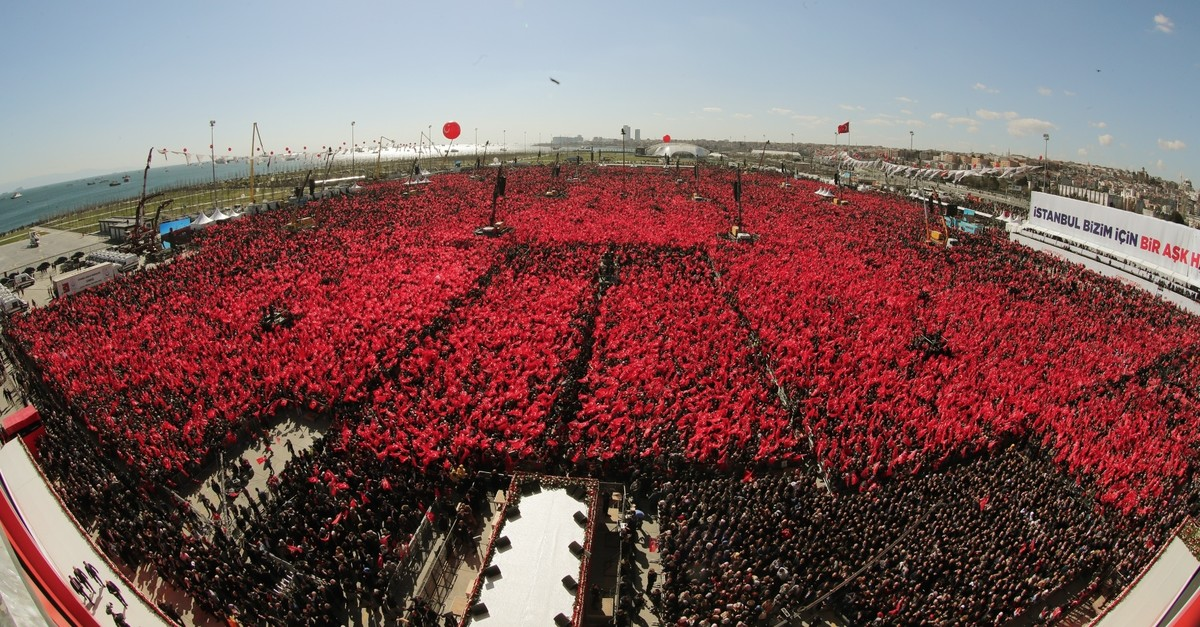 Some 1.6 million voters gathered in Istanbulu2019s Yenikapu0131 Square to attend a major joint Peopleu2019s Alliance rally, March 24, 2019.