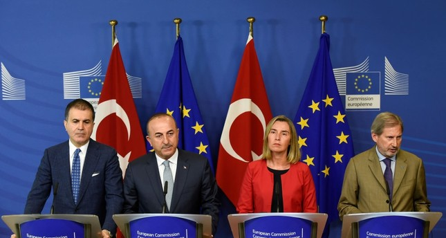 EU Affairs Minister Ömer Çelik, Foreign Minister Mevlüt Çavuşoğlu, EU Foreign Policy Chief Federica Mogherini and European Commissioner for Enlargement Johannes Hahn give a joint press conference