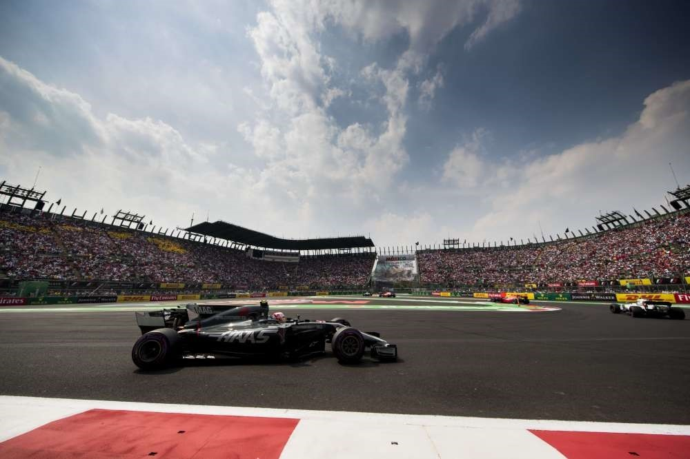 Kevin Magnussen of Denmark drives the (20) Haas F1 Team Haas-Ferrari VF-17 Ferrari on track during the Formula One Grand Prix of Mexico at Autodromo Hermanos Rodriguez, Oct. 29.