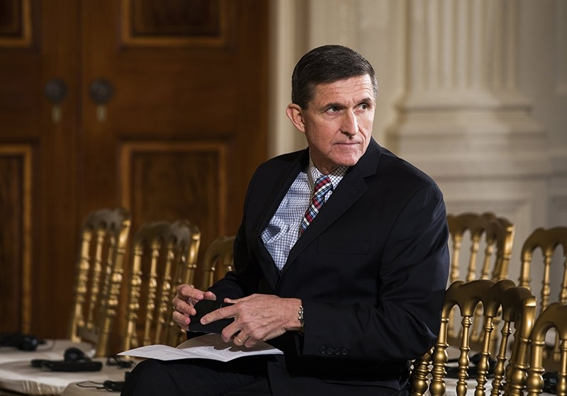 Michael Flynn, former National Security Advisor to US President Donald J. Trump, attending a press conference with Japanese Prime Minister Shinzo Abe in the East Room of the White House in Washington, DC, USA. Feb. 2017. (EPA File Photo)