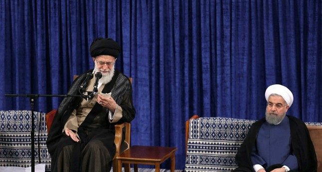Khamenei speaks during the swearing in ceremony of Iranian President Hasan Rouhani (R) in Tehran on August 3, 2017. (AFP Photo)