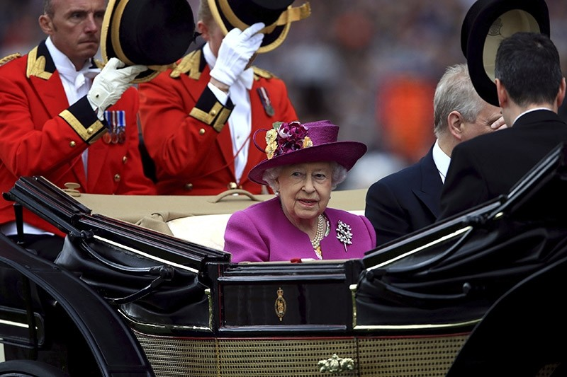 Queen Elizabeth II arrives during during day five of Royal Ascot at Ascot Racecourse, England. Saturday June 24, 2017. (AP Photo)