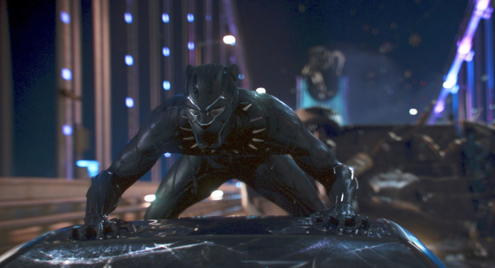 This image released by Disney shows a scene from Marvel Studios' ,Black Panther., (AP Photo)