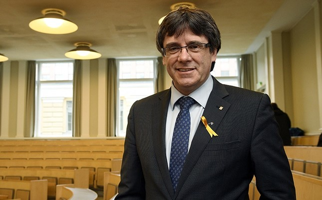 Deposed leader of Catalonia's pro-independence party Carles Puigdemont ahead of his lecture at the University of Helsinki, Finland, Friday March 23, 2018. (Markku Ulander/Lehtikuva via AP)