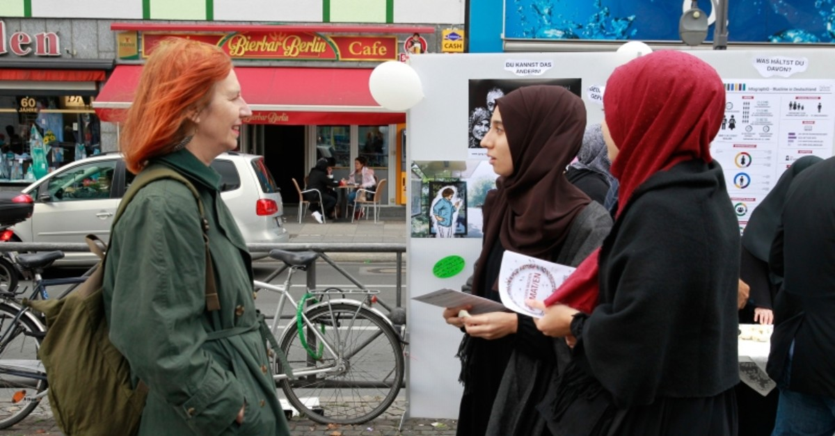 One of the 25 events organized in Germany and the Netherlands by IGMG to raise awareness on the discrimination Muslim women face in their daily life in Berlin, Germany, Sept. 28, 2019. (AA Photo)