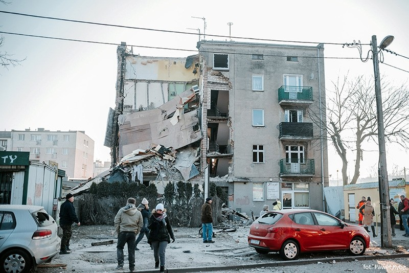 A general view of collapsed building is seen in Poznan, Poland, March 4, 2018, in this picture obtained from social media. (Reuters Photo)